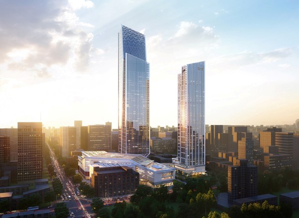 Grand Hyatt Kunming, with a gross floor area of 49,560 square meters, will occupy the first 26 floors of the hotel and residential tower (right). The hotel will become a prestigious addition to Hang Lung's mixed-use Spring City 66 development in Kunming. (Remarks: the photo is an artist's impression for reference only)
